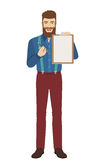 Hipster giving pen for your signature on clipboard Stock Photography