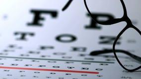 Hipster glasses falling onto eye test stock video