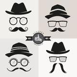 Hipster Glasses, Hats & Mustaches Stock Images