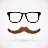 Hipster glasses and mustache Stock Photos