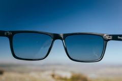 Hipster Glasses to the Sky stock image