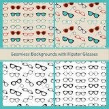 Hipster Glasses Vector Seamless Patterns Stock Images
