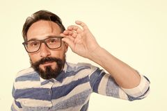 Hipster in glasses on white background. Fish-eye portrait of bearded guy in glasses. Surprised poindexter on white. Nerd guy in stock images