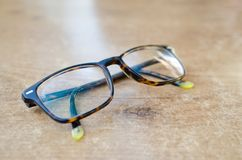 Glasses on a wood table bakground stock photo