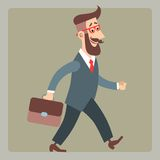 Hipster goes to work. Businessman hipster in a suit with a briefcase goes to work stock illustration