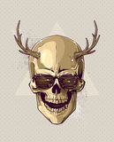 Hipster gold skull with horns Stock Photography