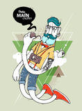 Hipster graffiti character. On abstract triangle background. Hand-drawn hipster tattooed dude with mustache. Vector illustration Stock Images
