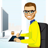 Hipster Graphic Designer Man Working Royalty Free Stock Image