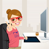 Hipster Graphic Designer Woman Working. Beautiful hipster fashion style graphic designer woman working with tablet in front of computer screen Stock Photo