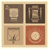 Hipster grunge handmade badges design - needlework vintage emblem set Royalty Free Stock Photography