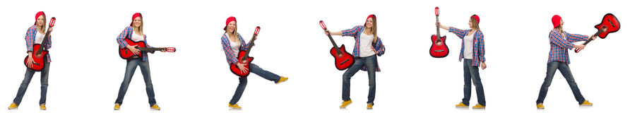 The hipster guitar player isolated on white. Hipster guitar player isolated on white stock images