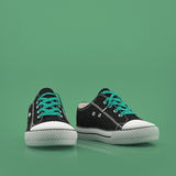 Hipster gumshoes arranged on green background front view with space for text Stock Photography