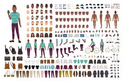 Hipster guy animation kit. African American man dressed in trendy clothes. Collection of male flat cartoon character. Body parts in various postures isolated on stock illustration