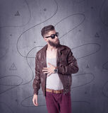 Hipster guy with beard and vintage camera Stock Photography