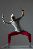 Hipster guy dancing Stock Image