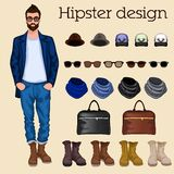 Hipster guy elements Stock Photography