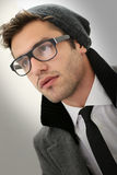 Hipster guy with eyeglasses Stock Images