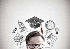 Hipster guy in glasses, education Royalty Free Stock Images