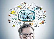 Hipster guy in glasses, web design Stock Photos