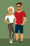 Hipster guy and his blond pretty girlfriend Stock Image
