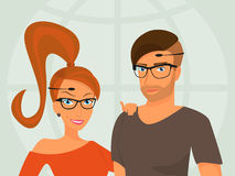 Hipster guy and his smiling girlfriend are wearing Royalty Free Stock Photo