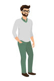 Hipster guy, isolated vector illustration Stock Images