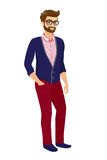 Hipster guy, isolated vector illustration Royalty Free Stock Photos