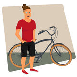 Hipster guy wearing small ponytail with bicycle Stock Photo