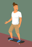 Hipster guy wearing small ponytail on skateboard Stock Photos