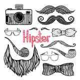 Hipster hair style accessories icons set Royalty Free Stock Photography