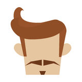 Hipster hairstyle with mustache Royalty Free Stock Image