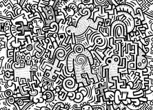 Hipster Hand drawn Crazy doodle Monster City,drawing seamless ba. Ckground doodle vector.Vector illustration Stock Images