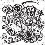Hipster Hand drawn Crazy doodle Monster group, drawing style. Vector illustration stock illustration
