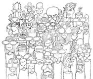 Hipster hand drawn Doodle crowd of happy people in sunglasses Royalty Free Stock Images