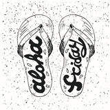 Hipster Hand Drawn Flip Flops with Inscription. Aloha Friday. Vector printable Typography For Posters, Flyers, Cards T-Shirts. Eps 10 Royalty Free Stock Photos
