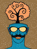 Hipster hand drawn human head with tree. Think green concept ,drawing style Pen on Paper Notebook.Vector illustration stock illustration