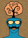 Hipster hand drawn human head with tree. Think green concept ,drawing style.Vector illustration stock illustration
