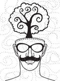 Hipster hand drawn human head with tree. Think green concept ,drawing style.Vector illustration vector illustration
