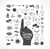 Hipster hand drawn shapes, icons, elements. Set of hipster black hand drawn shapes, icons and elements - perfect for logos, invites and kids design. Vector royalty free illustration