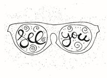 Hipster Hand Drawn Sun Glasses with Inscription Royalty Free Stock Photo
