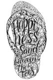 Hipster hand drog Flip Flop med inskriften vektor illustrationer