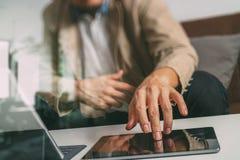 Hipster hand using smart phone,digital tablet docking keyboard,c Stock Photos