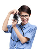 Hipster hands retro photographic camera Royalty Free Stock Image