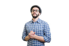 Hipster in hat Stock Image