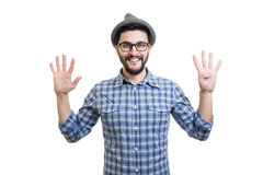 Hipster in hat Stock Images