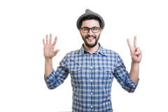 Hipster in hat Stock Photo