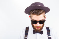 Hipster with hat  making funny faces Stock Photography