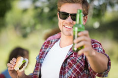 Hipster have lunch and beers Stock Photography