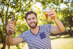 Hipster having himself a beer Royalty Free Stock Photography
