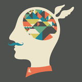 Hipster head with thoughts about triangles and pyramids. Stock Photo